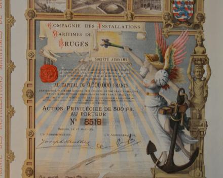 Aandeel uit 1904 met diverse Brugse stadsgezichten en onderaan de haven van Zeebrugge die door de Compagnie des installations maritimes de Bruges werd gebouwd en in 1907 werd ingewijd