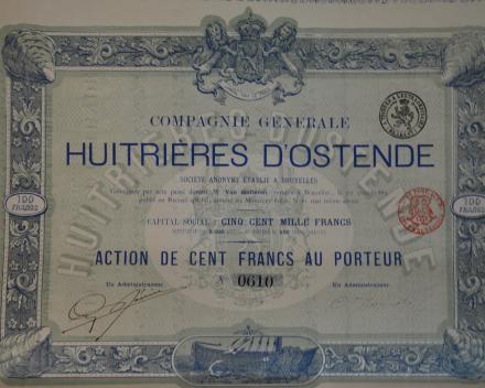 Aandeel uit 1882. De 'ostendaise' was in de 19de eeuw een gegeerde delicatesse in heel Europa. Naar verluidt bestelde zelfs de Russische Tsar regelmatig Belgische oesters. De 'ostendaise' is sinds enkele jaren aan een revival toe.