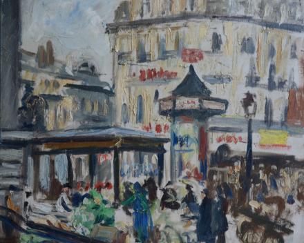 Alexandre Denonne (1879-1953) - Place de la Bourse à Bruxelles