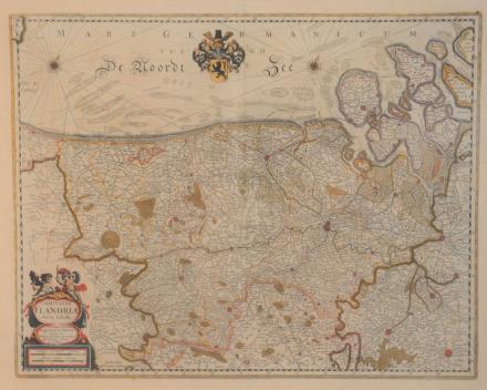 Henricus Hondius  |  op deze originele landkaart uit 1641 is nog duidelijk te zien dat de Zwingeul tot in Sluis ging